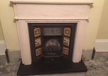 Bespoke Design Surround in Limestone with Granite Hearth, made to fit existing fire