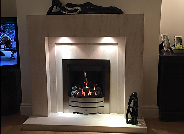 Dakota Fireplace in Limestone with gas fire | Nostalgia