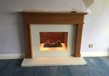 Customer's existing surround with an Opti-Myst fire with marble slips and hearth