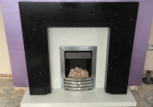 The New York fireplace in Black Starlight and Aspros quartz