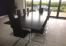 30mm Steel Grey water brushed granite dining table